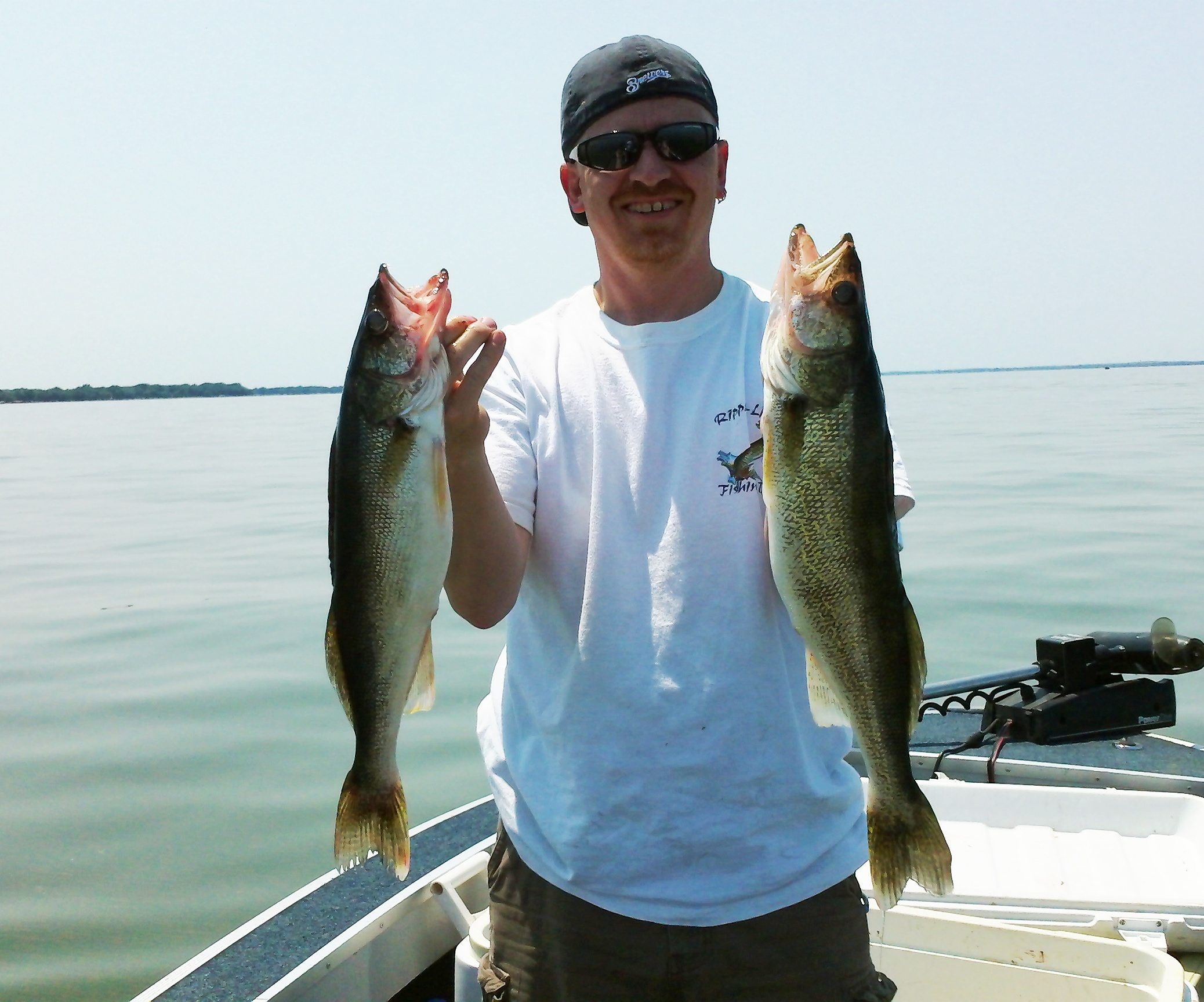 Mike Kosanke with 2 big walleyes caught on Lake Winnebago in Wisconsin